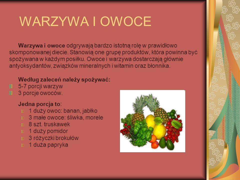 WARZYWA I OWOCE Warzywa i owoce odgrywają bardzo istotną rolę w prawidłowo. skomponowanej diecie. Stanowią one grupę produktów, która powinna być.