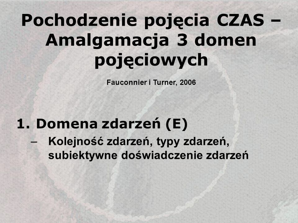 Pochodzenie pojęcia CZAS – Amalgamacja 3 domen pojęciowych