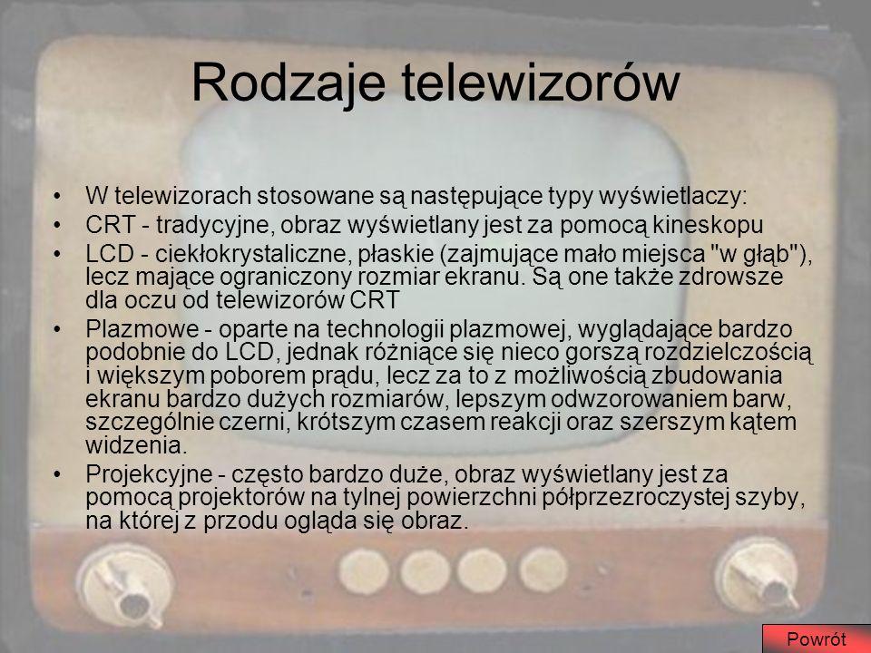 Rodzaje telewizorów W telewizorach stosowane są następujące typy wyświetlaczy: CRT - tradycyjne, obraz wyświetlany jest za pomocą kineskopu.