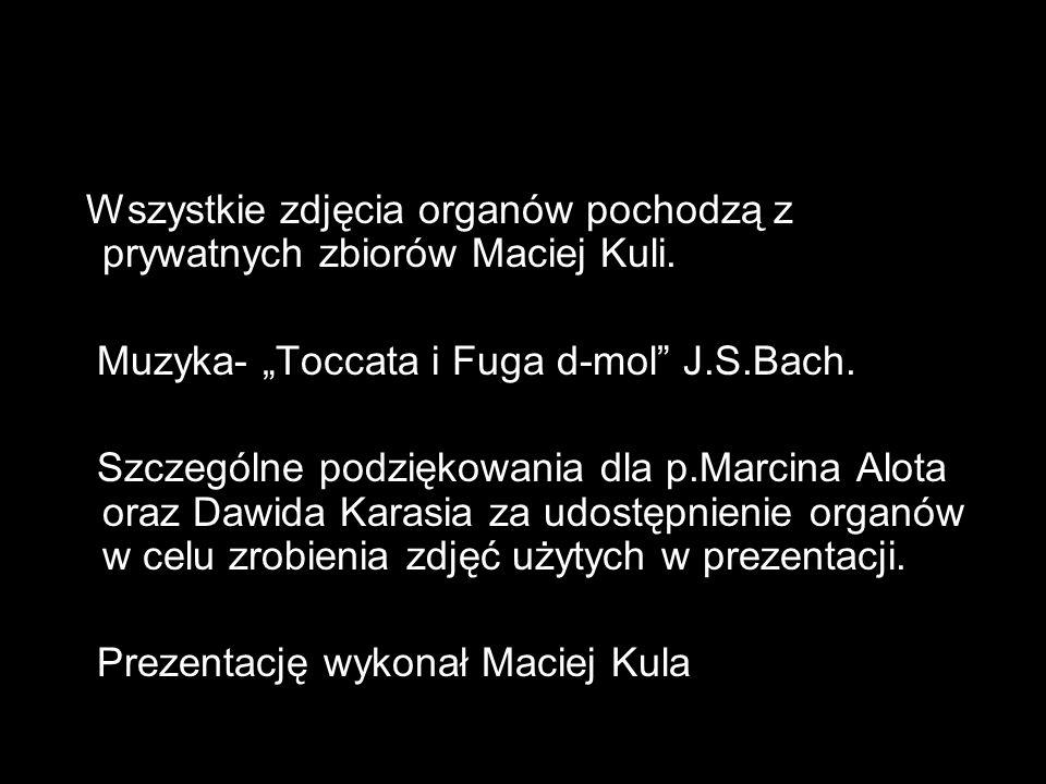 Wszystkie zdjęcia organów pochodzą z prywatnych zbiorów Maciej Kuli.