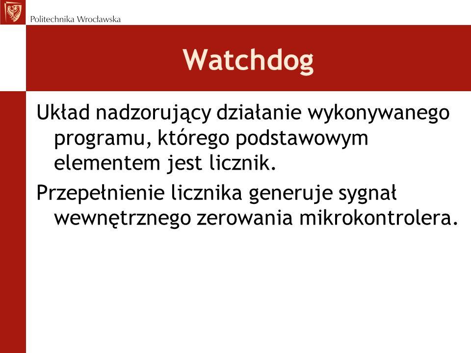 WatchdogUkład nadzorujący działanie wykonywanego programu, którego podstawowym elementem jest licznik.