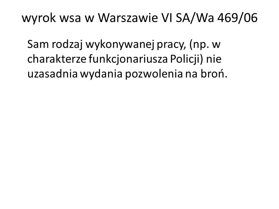 wyrok wsa w Warszawie VI SA/Wa 469/06