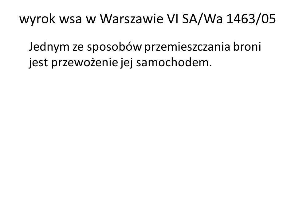 wyrok wsa w Warszawie VI SA/Wa 1463/05