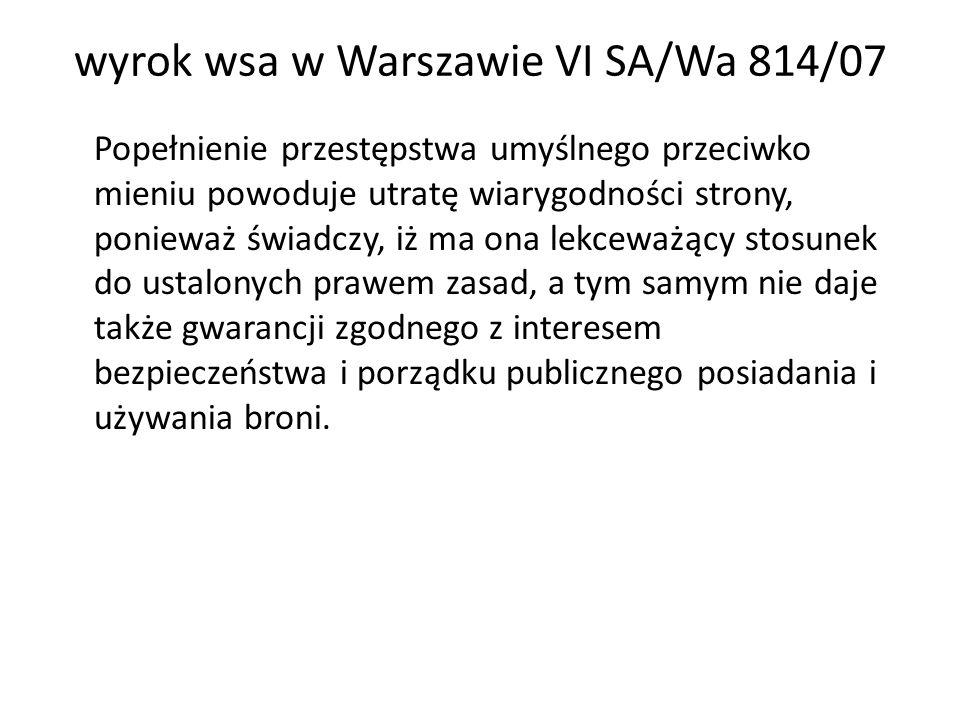 wyrok wsa w Warszawie VI SA/Wa 814/07