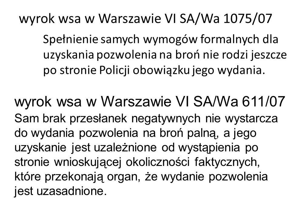 wyrok wsa w Warszawie VI SA/Wa 1075/07