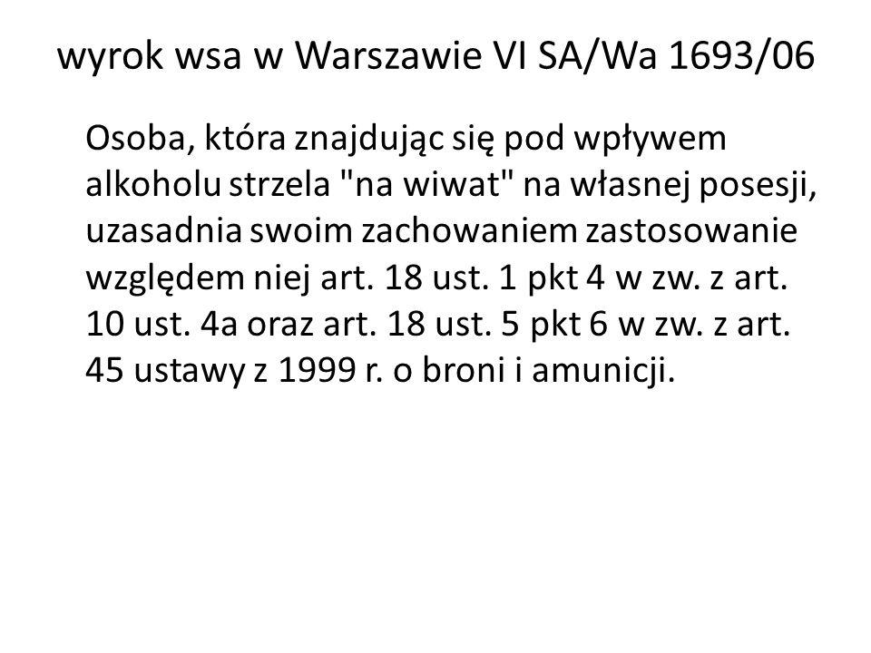 wyrok wsa w Warszawie VI SA/Wa 1693/06
