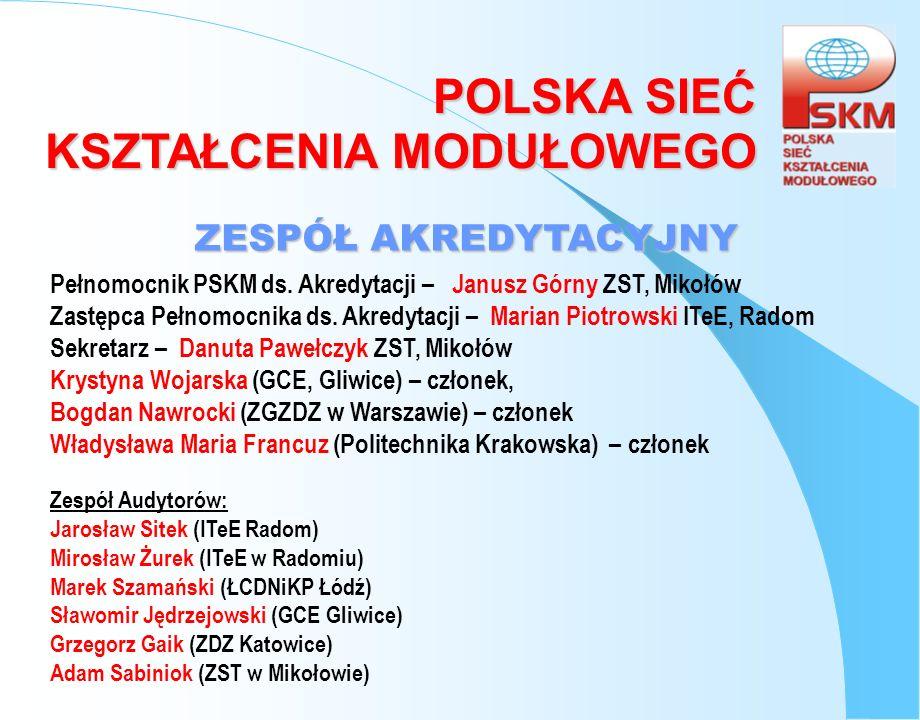 ZESPÓŁ AKREDYTACYJNY Pełnomocnik PSKM ds. Akredytacji – Janusz Górny ZST, Mikołów.