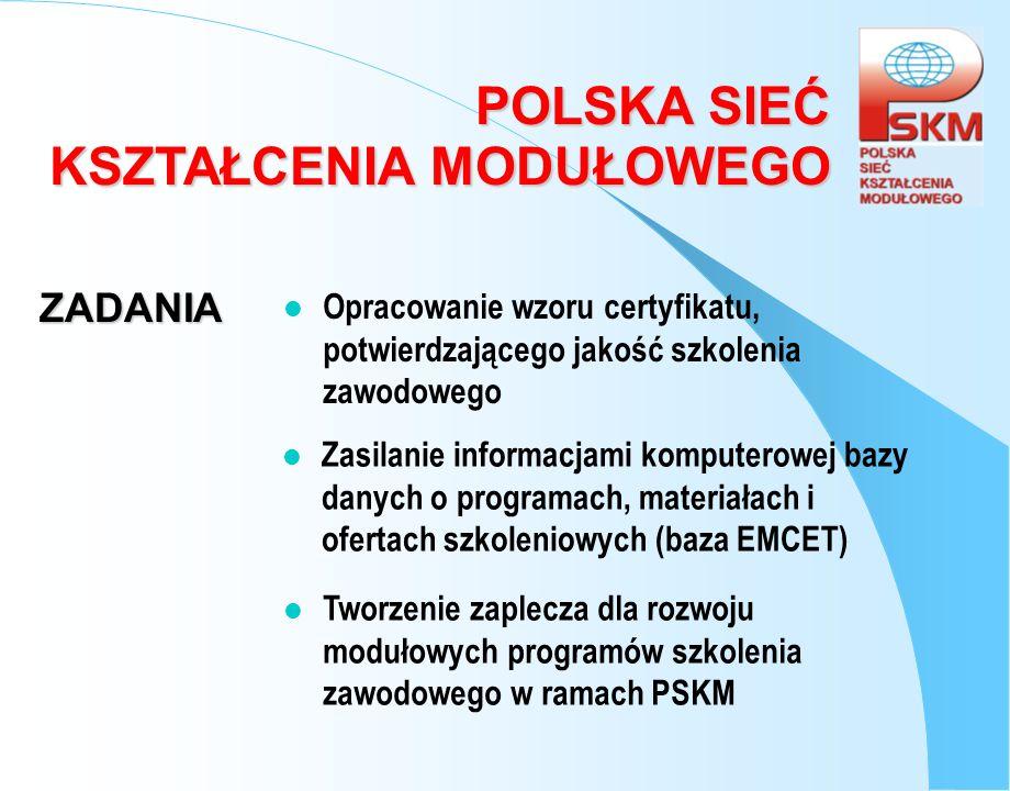 ZADANIA Opracowanie wzoru certyfikatu, potwierdzającego jakość szkolenia zawodowego.
