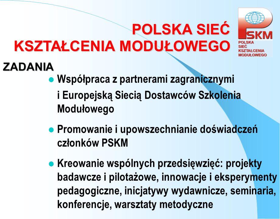 ZADANIA Współpraca z partnerami zagranicznymi. i Europejską Siecią Dostawców Szkolenia Modułowego.