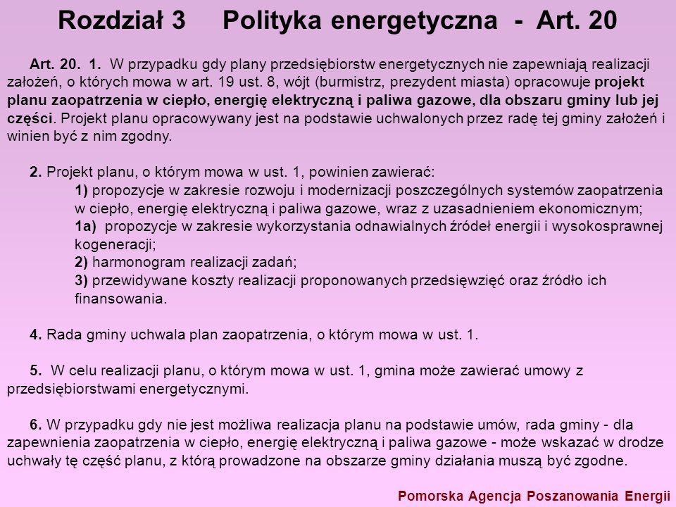 Rozdział 3 Polityka energetyczna - Art. 20