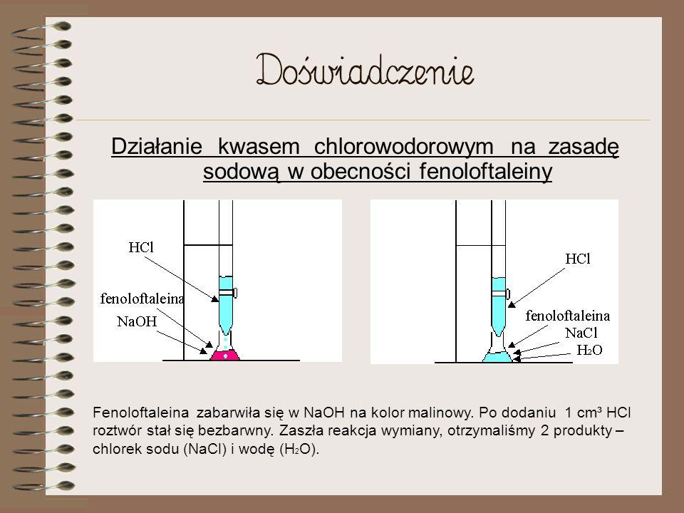 DoświadczenieDziałanie kwasem chlorowodorowym na zasadę sodową w obecności fenoloftaleiny.