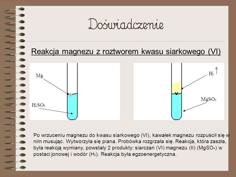 Reakcja magnezu z roztworem kwasu siarkowego (VI)