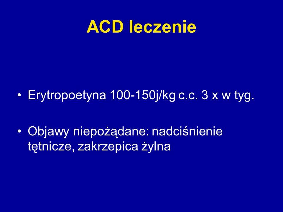 ACD leczenie Erytropoetyna 100-150j/kg c.c. 3 x w tyg.