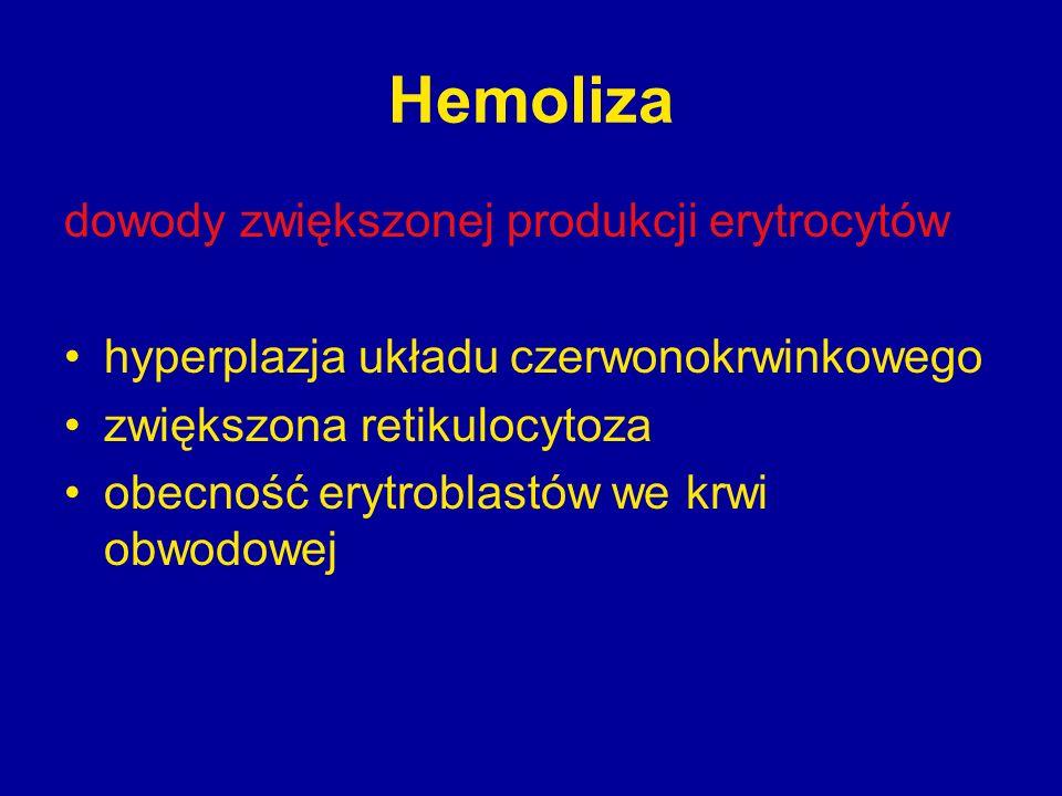 Hemoliza dowody zwiększonej produkcji erytrocytów