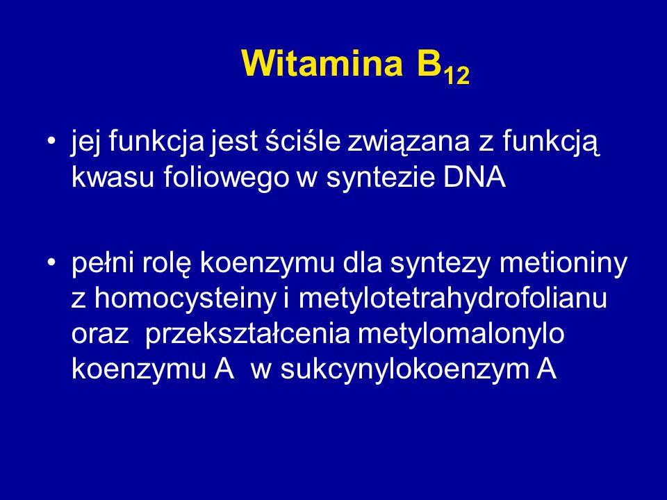 Witamina B12 jej funkcja jest ściśle związana z funkcją kwasu foliowego w syntezie DNA.