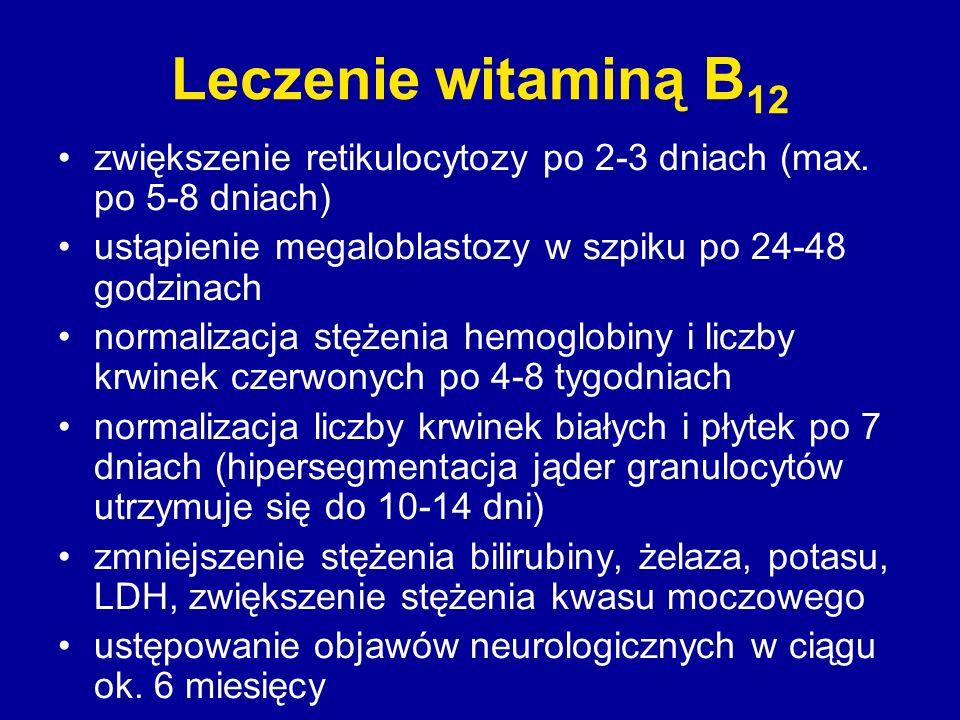 Leczenie witaminą B12 zwiększenie retikulocytozy po 2-3 dniach (max. po 5-8 dniach) ustąpienie megaloblastozy w szpiku po 24-48 godzinach.
