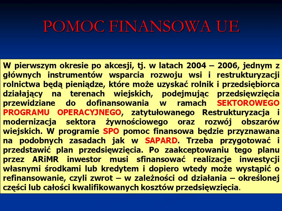 POMOC FINANSOWA UE