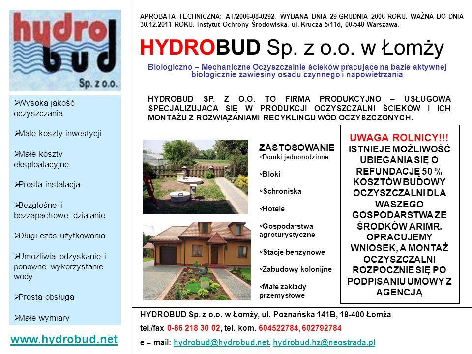 HYDROBUD Sp. z o.o. w Łomży www.hydrobud.net UWAGA ROLNICY!!!