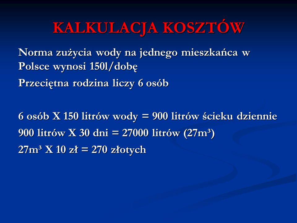 KALKULACJA KOSZTÓW Norma zużycia wody na jednego mieszkańca w Polsce wynosi 150l/dobę. Przeciętna rodzina liczy 6 osób.