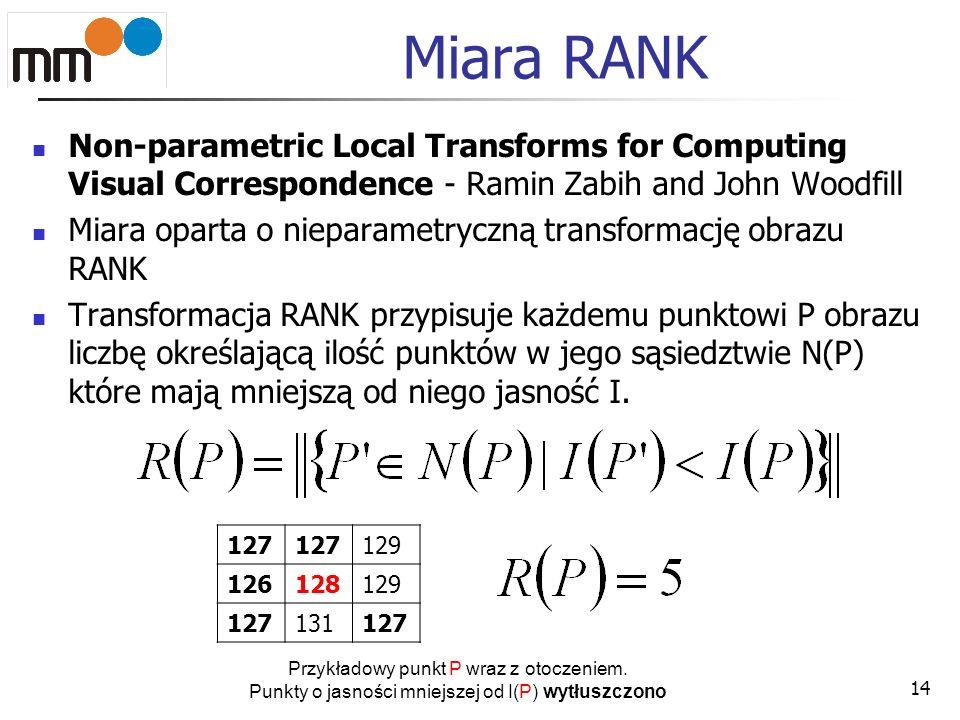 Miara RANKNon-parametric Local Transforms for Computing Visual Correspondence - Ramin Zabih and John Woodfill.