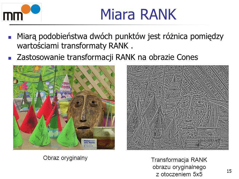 Transformacja RANK obrazu oryginalnego z otoczeniem 5x5
