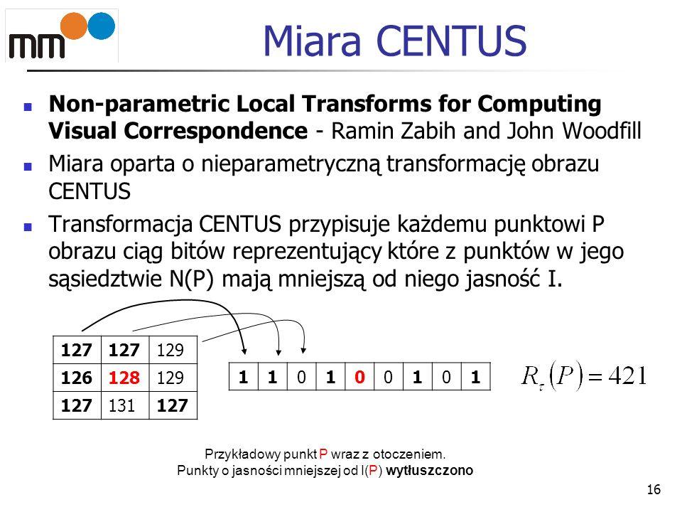 Miara CENTUSNon-parametric Local Transforms for Computing Visual Correspondence - Ramin Zabih and John Woodfill.