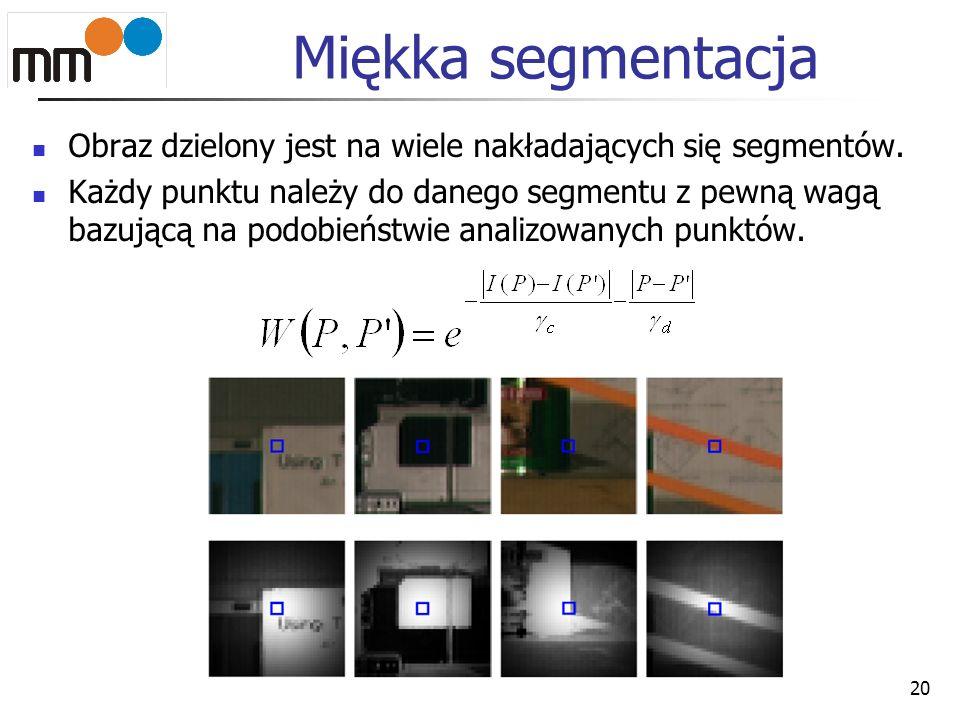 Miękka segmentacja Obraz dzielony jest na wiele nakładających się segmentów.