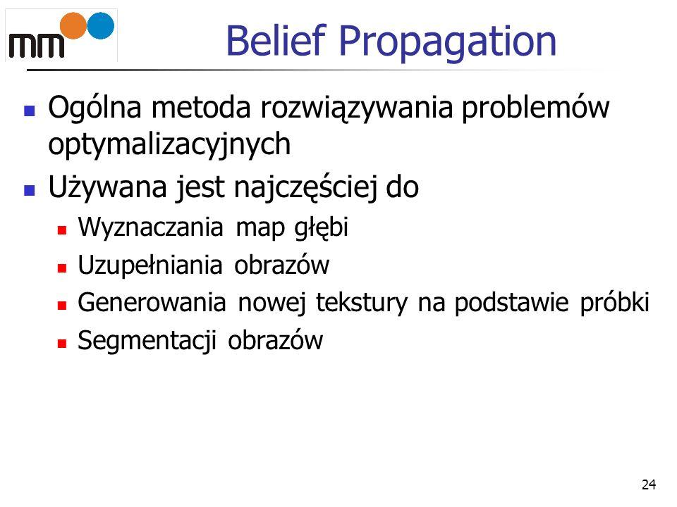 Belief Propagation Ogólna metoda rozwiązywania problemów optymalizacyjnych. Używana jest najczęściej do.