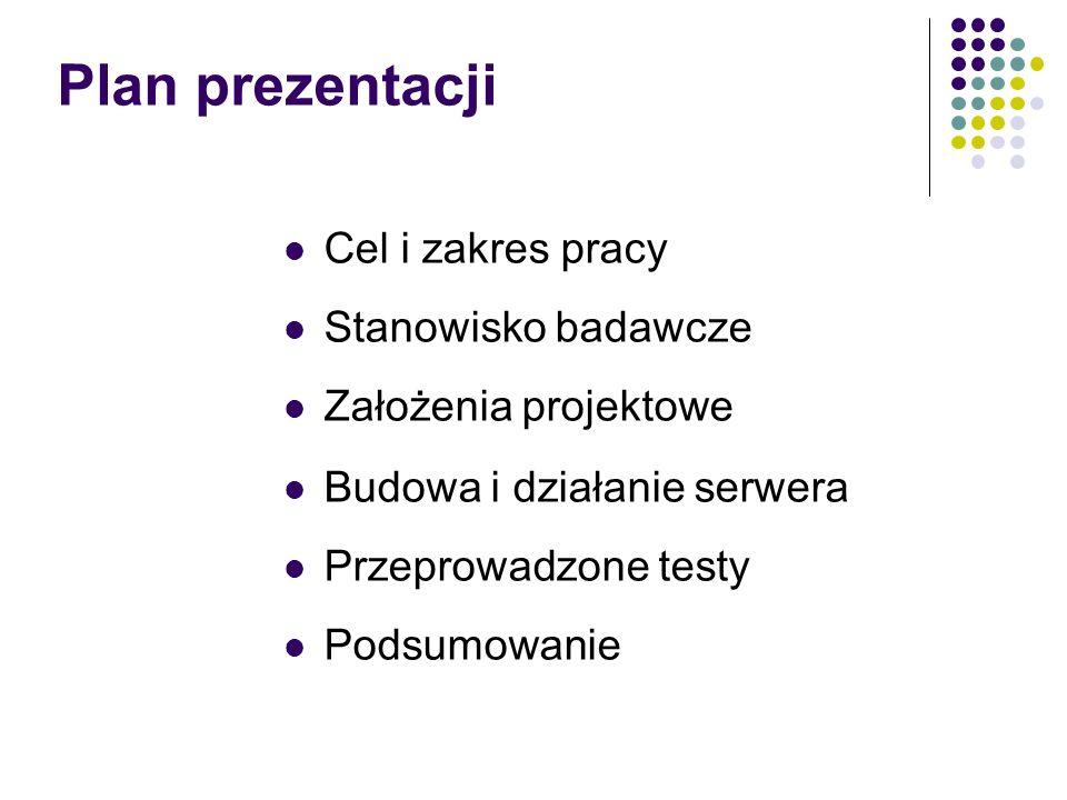 Plan prezentacji Cel i zakres pracy Stanowisko badawcze