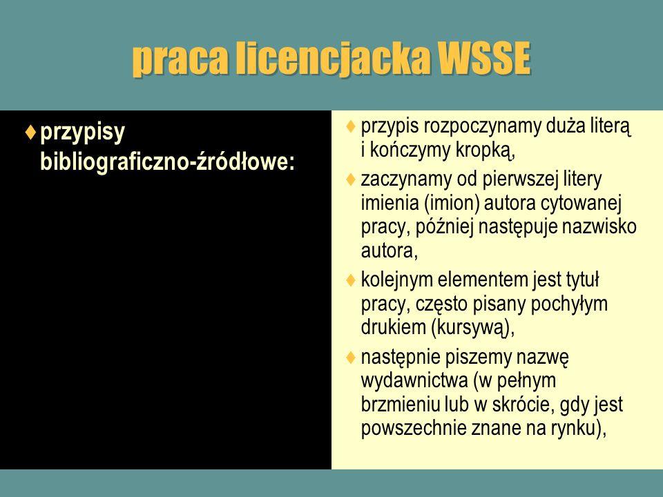 praca licencjacka WSSE