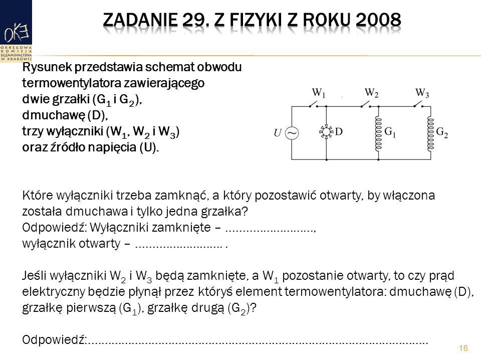 Zadanie 29. z fizyki z roku 2008 Rysunek przedstawia schemat obwodu