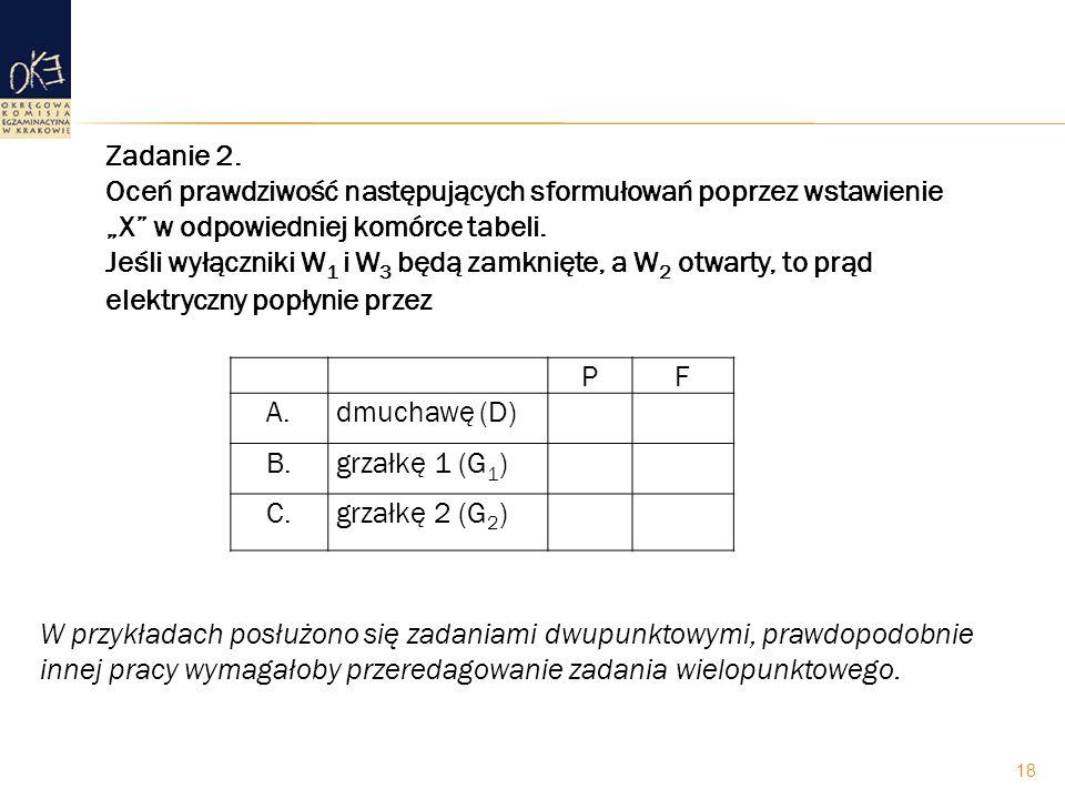 """Zadanie 2. Oceń prawdziwość następujących sformułowań poprzez wstawienie """"X w odpowiedniej komórce tabeli. Jeśli wyłączniki W1 i W3 będą zamknięte, a W2 otwarty, to prąd elektryczny popłynie przez"""