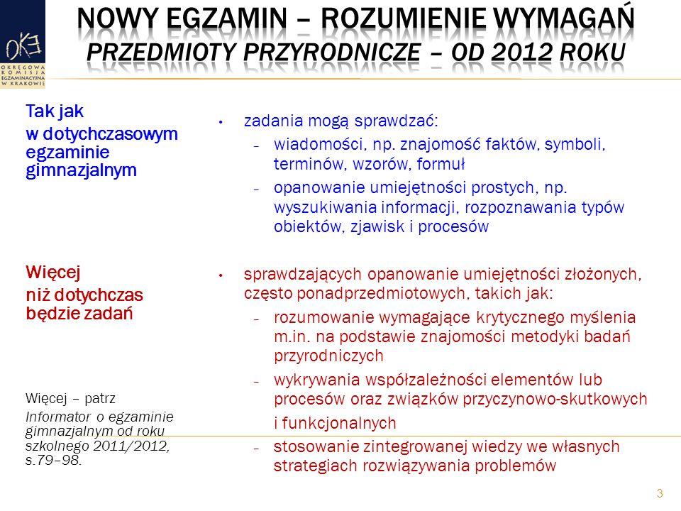 Nowy egzamin – rozumienie wymagań Przedmioty przyrodnicze – od 2012 roku