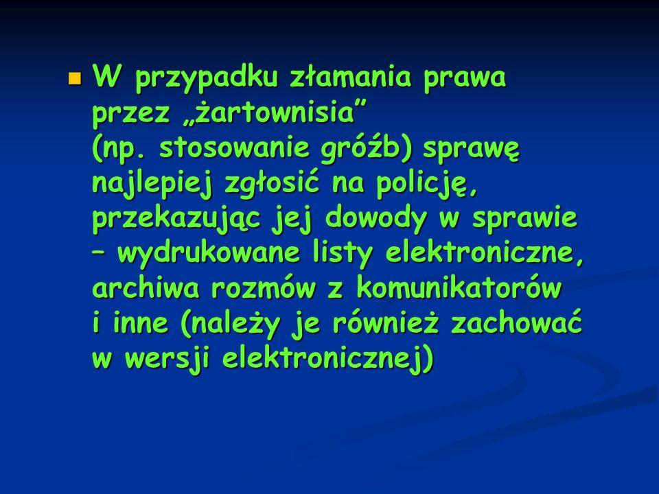 """W przypadku złamania prawa przez """"żartownisia (np"""