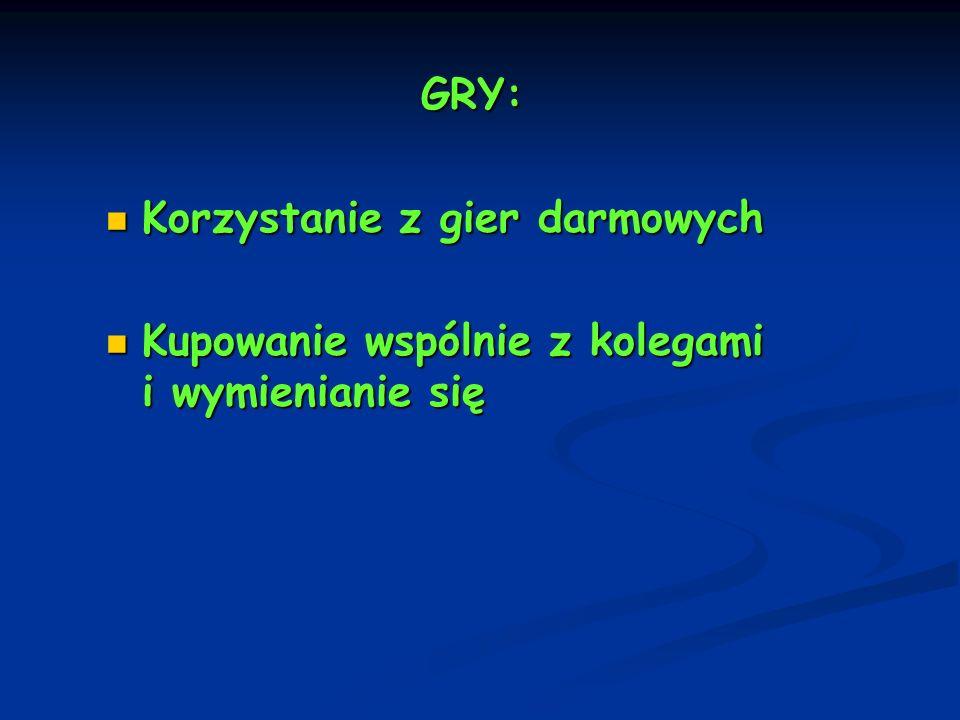 GRY: Korzystanie z gier darmowych Kupowanie wspólnie z kolegami i wymienianie się