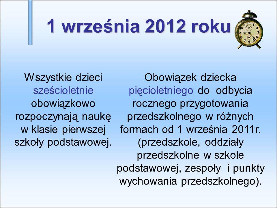 1 września 2012 rokuWszystkie dzieci sześcioletnie obowiązkowo rozpoczynają naukę w klasie pierwszej szkoły podstawowej.