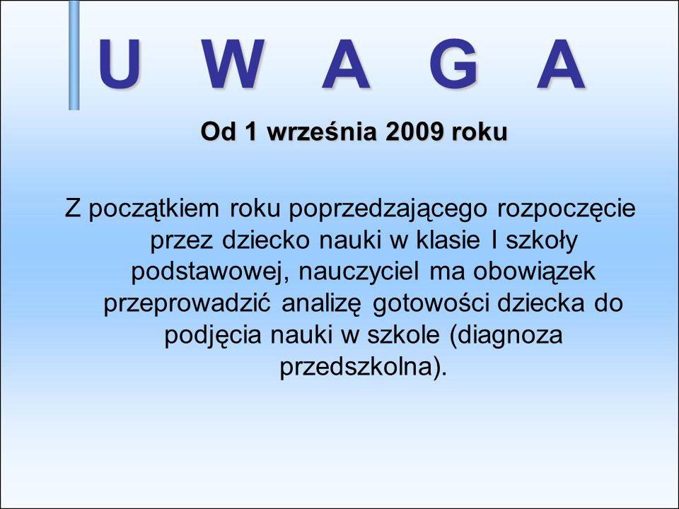 U W A G AOd 1 września 2009 roku.