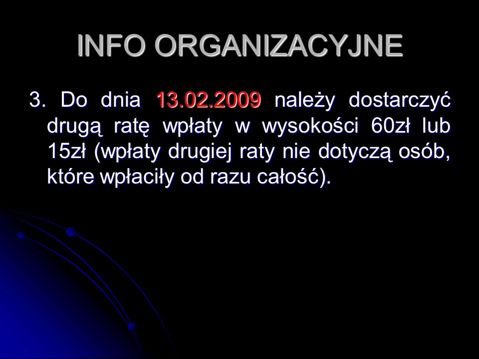 INFO ORGANIZACYJNE