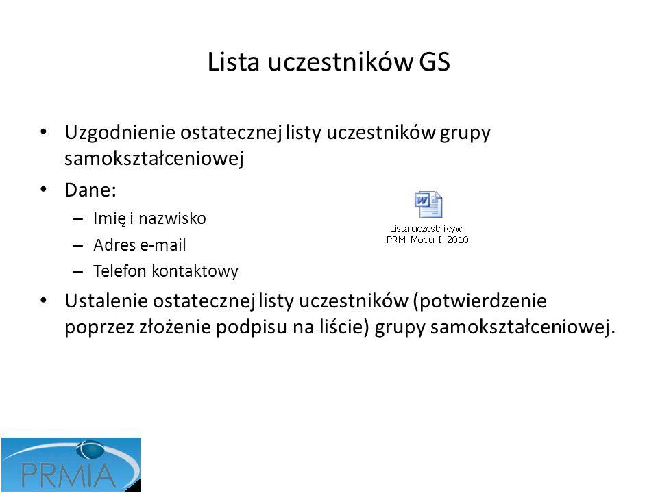 Lista uczestników GS Uzgodnienie ostatecznej listy uczestników grupy samokształceniowej. Dane: Imię i nazwisko.