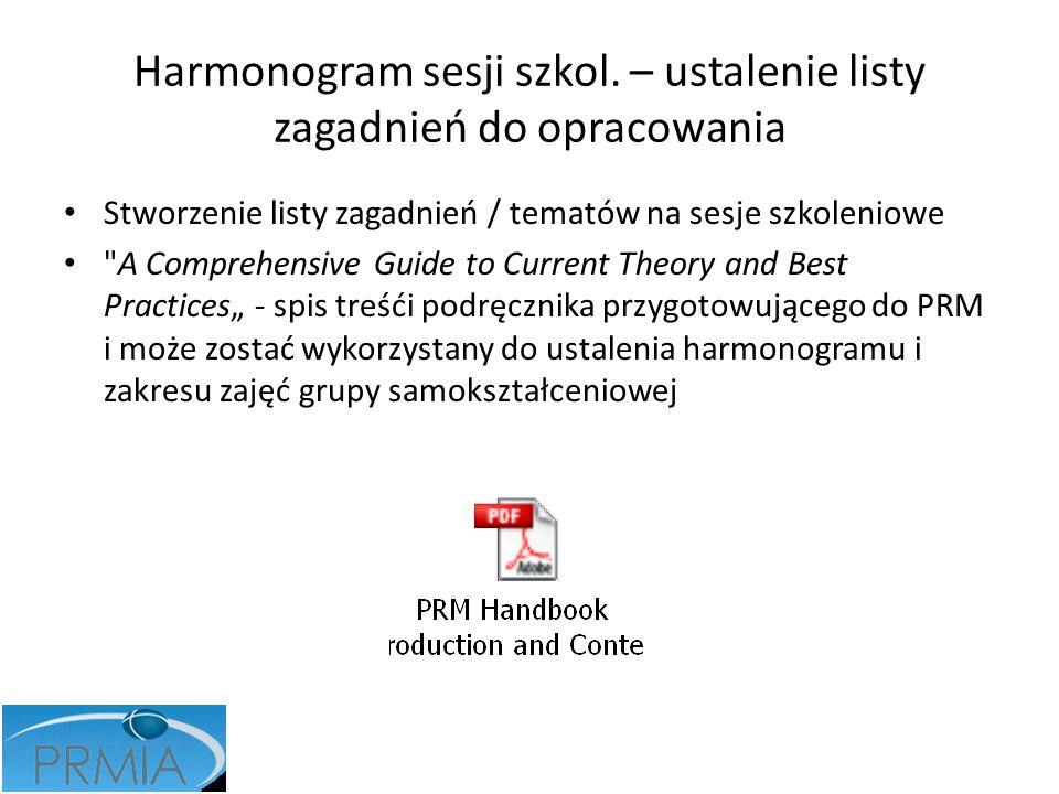 Harmonogram sesji szkol. – ustalenie listy zagadnień do opracowania
