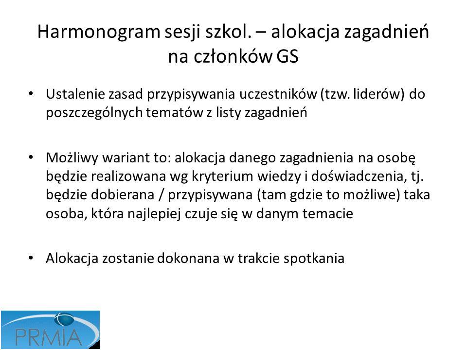 Harmonogram sesji szkol. – alokacja zagadnień na członków GS