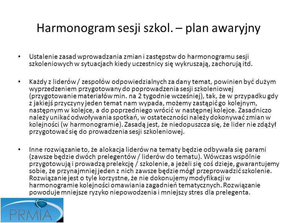 Harmonogram sesji szkol. – plan awaryjny