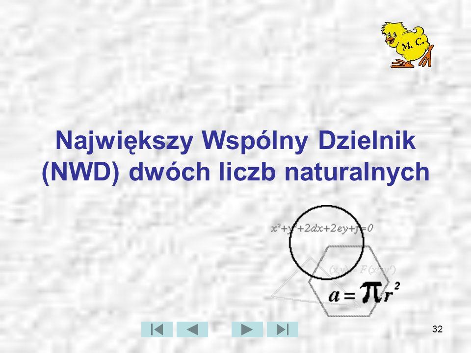 Największy Wspólny Dzielnik (NWD) dwóch liczb naturalnych