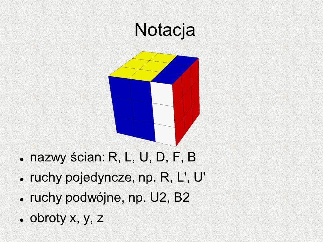 Notacja nazwy ścian: R, L, U, D, F, B ruchy pojedyncze, np. R, L , U