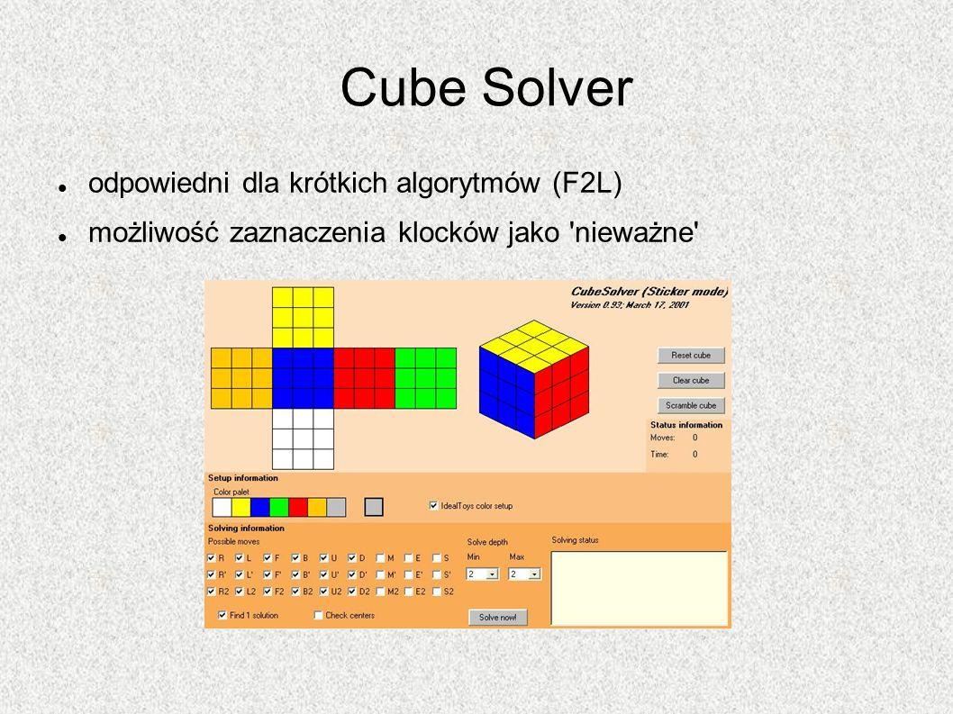Cube Solver odpowiedni dla krótkich algorytmów (F2L)