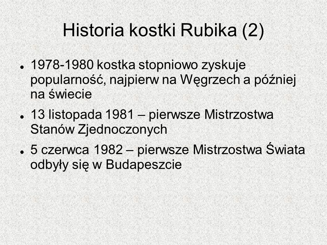 Historia kostki Rubika (2)