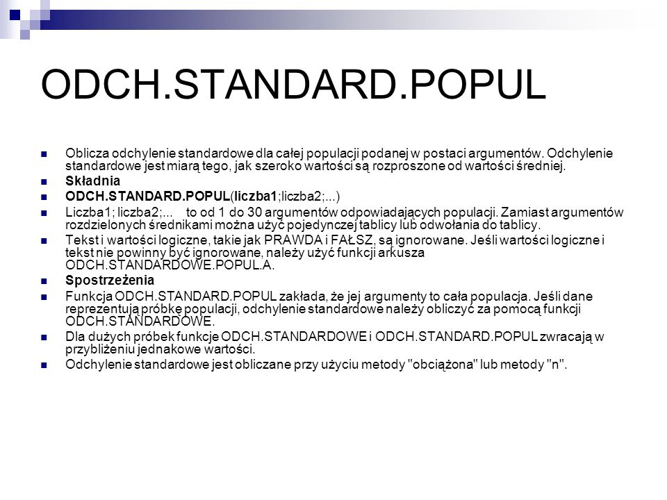 ODCH.STANDARD.POPUL