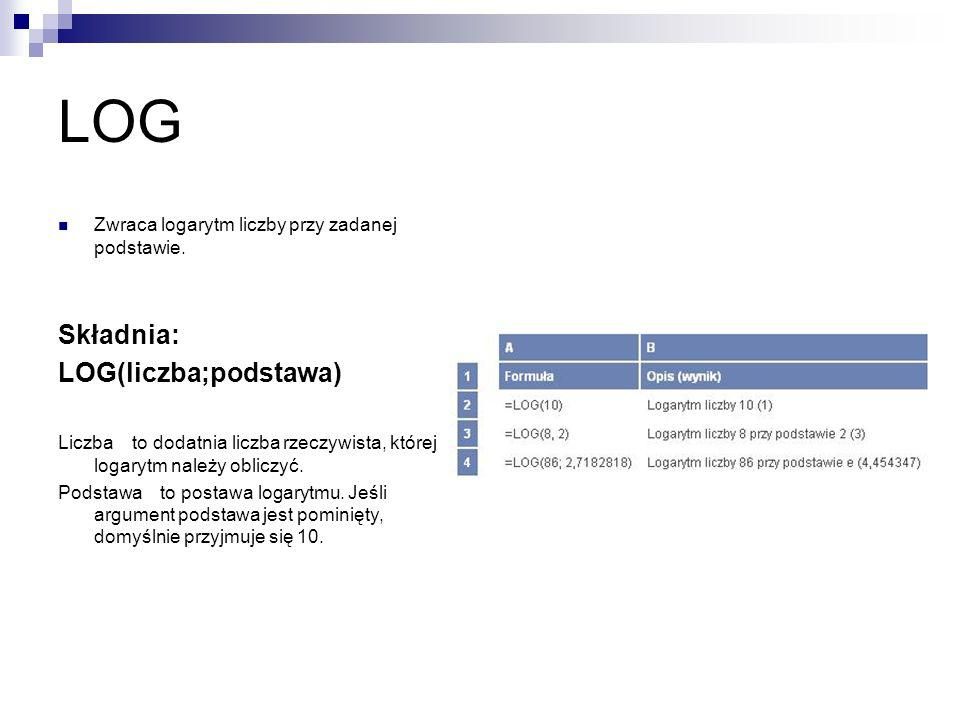 LOG Składnia: LOG(liczba;podstawa)