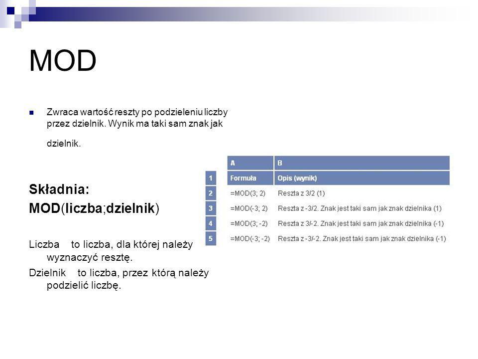 MOD Składnia: MOD(liczba;dzielnik)
