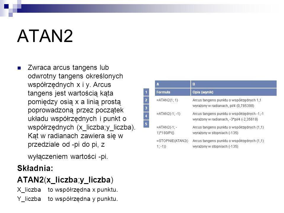 ATAN2 Składnia: ATAN2(x_liczba;y_liczba)